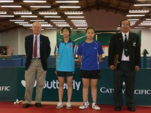 NZ Junior Open 2010 - Cadet Girls Singles Final (9April). Richard Ammundsen (Assistant Umpire) Wong Chung Wan (Hong Kong) Lily Phan (Australia) Malcolm Wong (Umpire).
