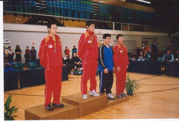Boy's Singles: L/R: Li Hu (CHN) Zhang Jike (CHN) Chih Chi Wu (TPE) & Ma Long (CHN)