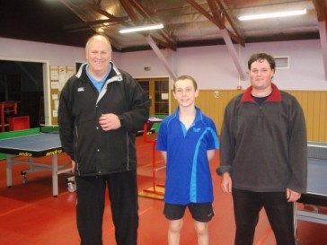 TTW Chairman Bruce Northover with 2010 Open Men's Singles Champion Oliver Scarlett and runner up Phillip McConnochie