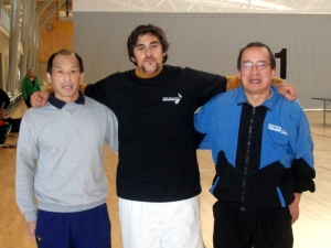 Umpires Martin Young, Matthew Liua'ana (Organiser) and Malcolm Wong