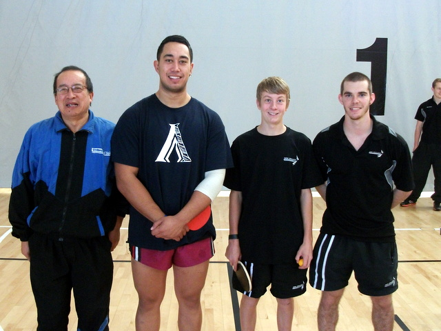 Malcolm Wong with Men's  Singles players Benton Favell (Auck), Daniel Dexter (Wgtn) and Spencer Sandridge (Chch)