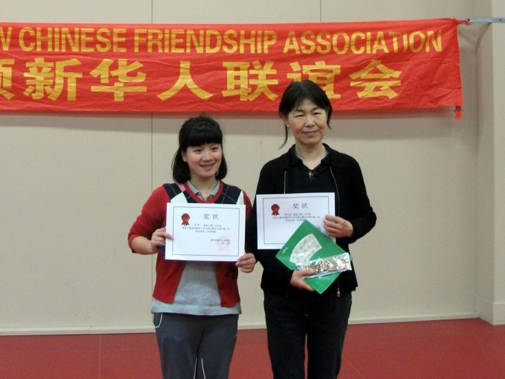 Women's Singles prize winners Hong Yuan and Judy Zheng.