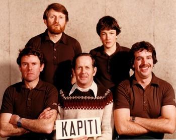 1981 NZ Championships - Kapiti Men's Team L/R: Warren Evans, Lloyd McIntyre, Robin Radford (manager),  Tony Radford, Murray Talbot