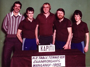 Kapiti Men's Team (1982) L/R: Murray Talbot (manager), Michael Radford, Chris Talbot, Lloyd McIntyre, Tony Radford
