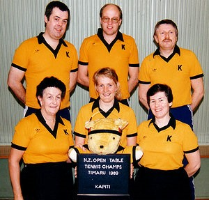 Kapiti Teams (1989) L/R: back: Martin Smithies, Chris Talbot, Lloyd McIntyre front: Jean Radford, Caron Watson, June Campbell