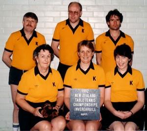Kapiti Teams (1992) L/R back: Lloyd McIntyre, Chris Talbot, Alan Baines front: Jean Radford, Caron Watson, Lyn McKay
