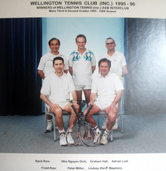 Wellington Club Team which won the Wellington Tennis Men's Third Grade (1995) and Second Grade (1996)