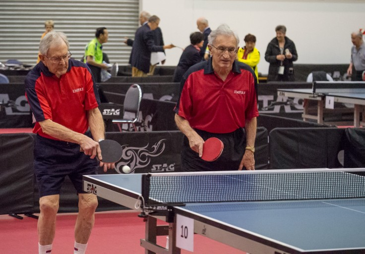 Merv Allardyce and Eddie Moore in a Over 80 Men's Doubles match.