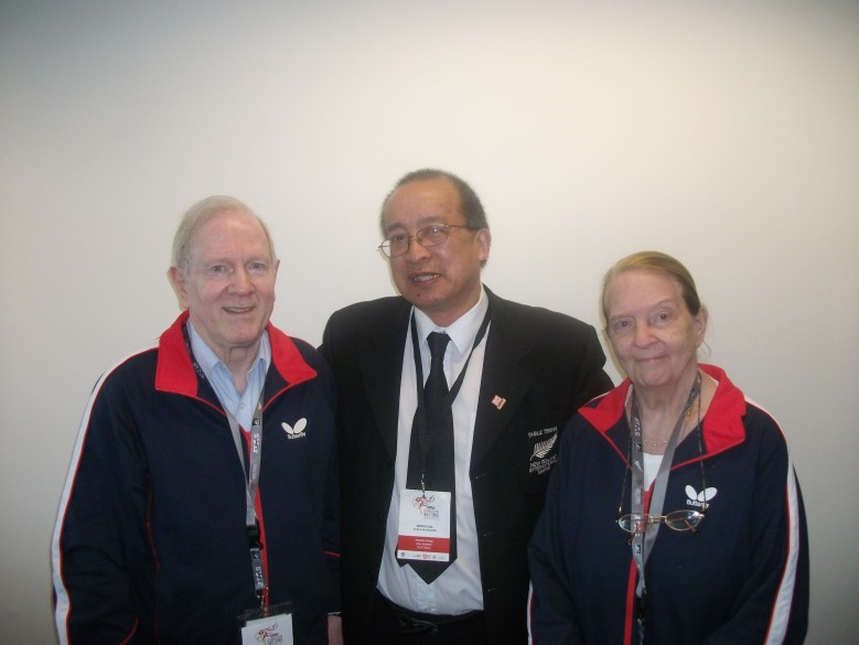 Eberhard Scholer, Malcolm Wong and Diane Scholer. Eberhard is the President of the Swaythling Club International (SCI), which is for former players and officials who have been to the World Championships, and Diane is the Honorary President. Diane was formerly Diane Rowe who won the World Women Doubles with her twin sister Rosalind (1951 and 1954). They toured New Zealand in 1953.