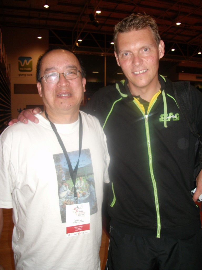 Malcolm Wong with Peter Karlsson (Sweden) a former World and European Champion. Peter is the face of Stag, which is the major sponsor of the 2014 World Veteran Table Tennis Championships.