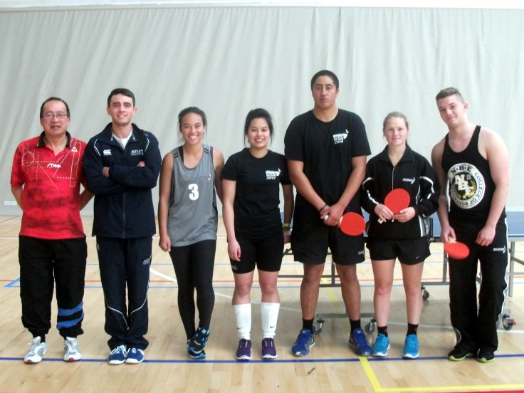 Malcolm Wong (Umpire) with Mixed Doubles players Luke Istead & Justice Erihe (Auckland), Janella Galang & Manutai Hira (Wellington) and Arna Roberts & Albert Stanciu (Christchurch).