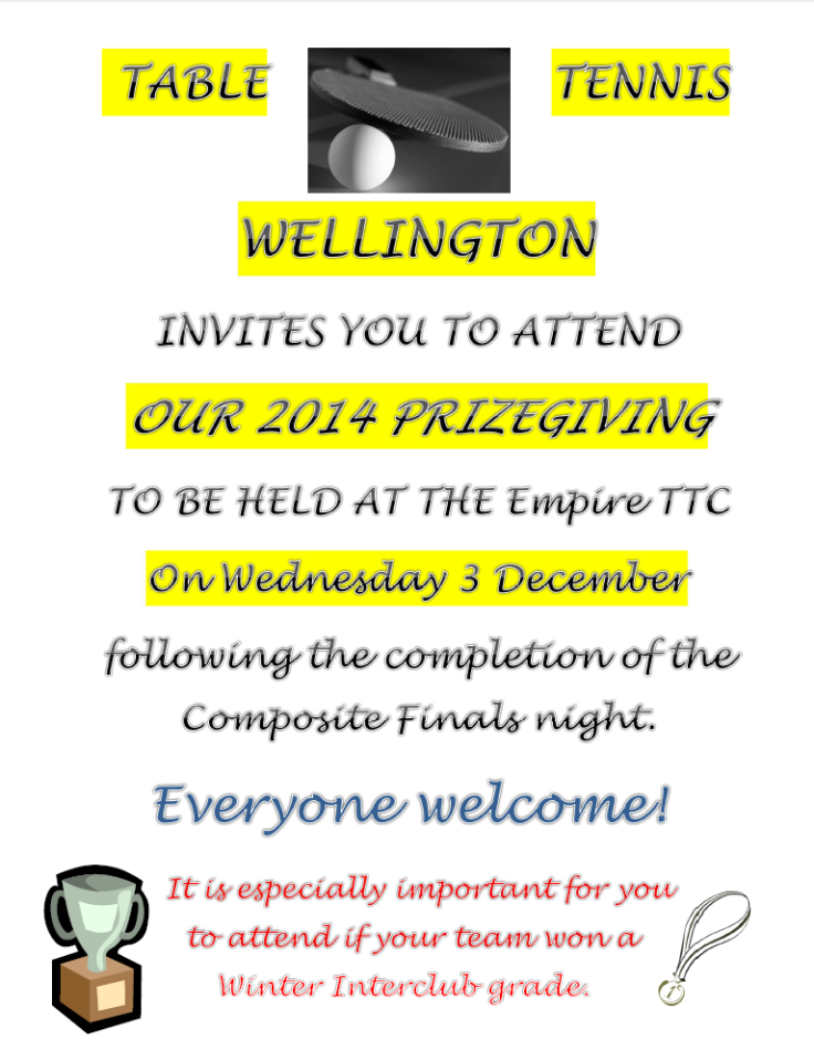 2014 Prizegiving