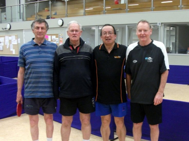 Over 60 Men's Doubles finalist. Alan Alabaster, Brian Wilson (Runner up), Malcolm Wong, Mark Nalder (Winners). Malcolm and Mark won 3-2 (6-11 11-9 11-8 9-11 11-8)