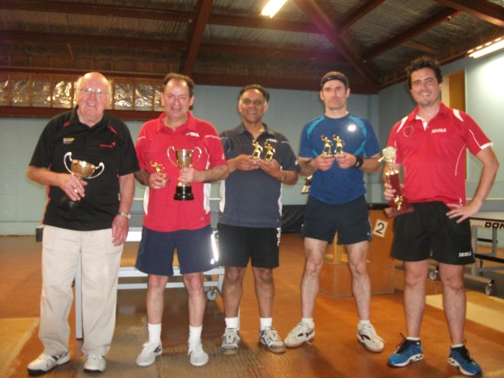 Trophy winners Hugh McIlwrath, Lindsay Ward, Depak Patel, Paul Brown and Ben Collins