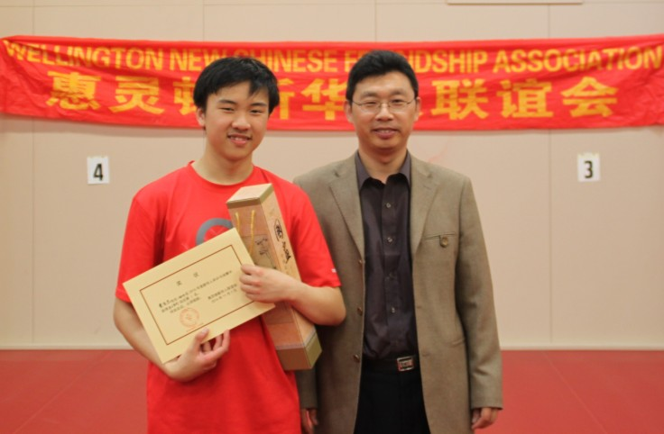 Chun-Kiet Vong (Singles Winner) and Stephen Wang (Chairperson –Wellington New Chinese Friendship Association)