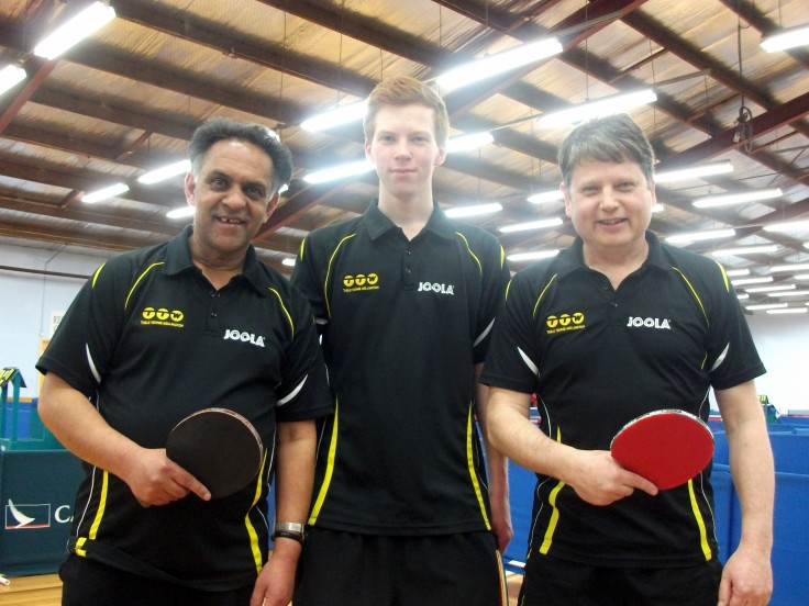 Wellington 2 Men's Team. Depak Patel, Gareth Telfer and Paul Solt.