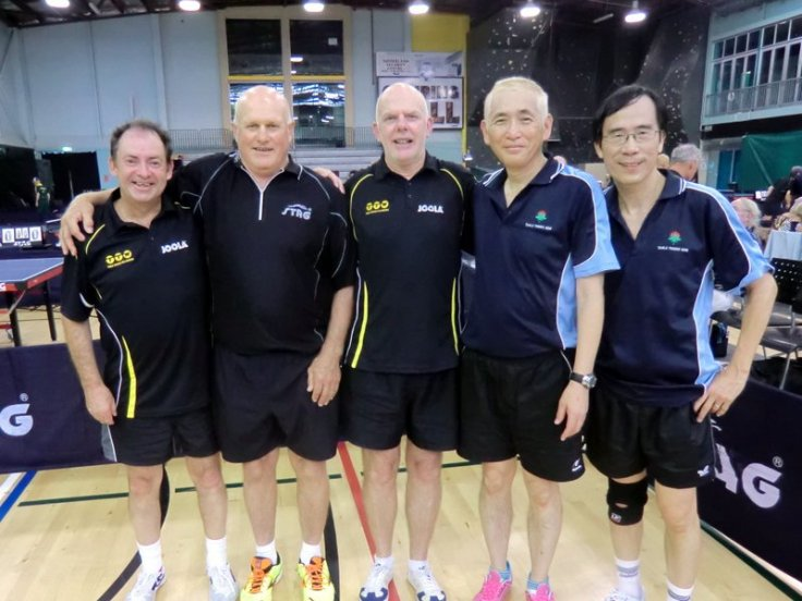 L-R Lindsay Ward, Bryan McConnochie, Ian Talbot (Wellington) Shinji Hiraoka, Stephen Tai (New South Wales)