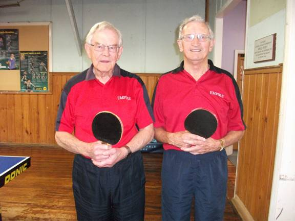 Over 80 Men's Doubles Silver Medalists Merv Allardyce and Eddie Moore. Eddie was also Over 80 Men's Singles Silver Medalist.