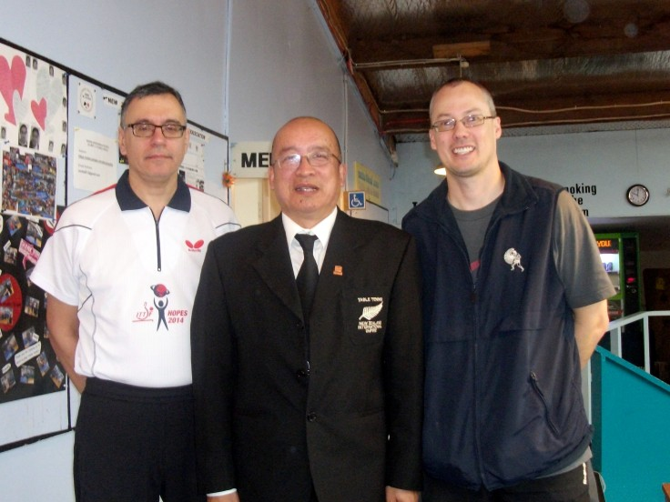 Dejan Papic (ITTF Coach), Malcolm Wong (Referee) and Shane Warbrooke (Organiser).