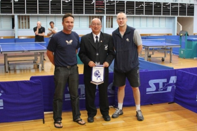Presentation to the Referee. Wayne Gear (Auckland Table Tennis Chairman), Malcolm Wong (Referee) and Shane Warbrooke (Auckland Table Tennis Chief Executive).