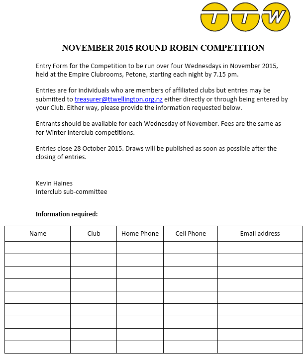 TTW 2015 November Comp Entry Form