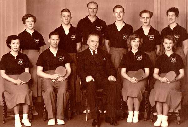 1952 Wellington Table Tennis Men's and Women's Teams.  L/R back: Thyra McGregor, Tony Darroch, John Crossley, Murray Dunn,  Colin Shewan, Charlotte Savage. front: Ann Leong, Laurie Wilson (Men's captain), Bill Jopson (manager),  Audrey Hughes (Women's captain), Pam Smith.