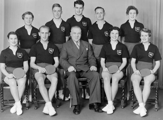 1956 Wellington Table Tennis Men's and Women's Teams. L/R Back: Joyce Bratton, Tony Darroch, Alan Robinson, Brian Sim, Val Cousins. Front: Angela Williamson, Colin Shewan, Bill Jopson (Manager) Eileen Brown, Val White.