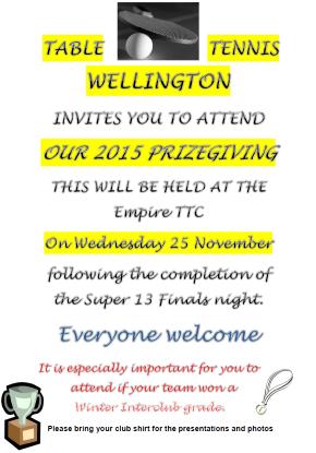 TABLE TENNIS WELLINGTON Prizegiving 2015