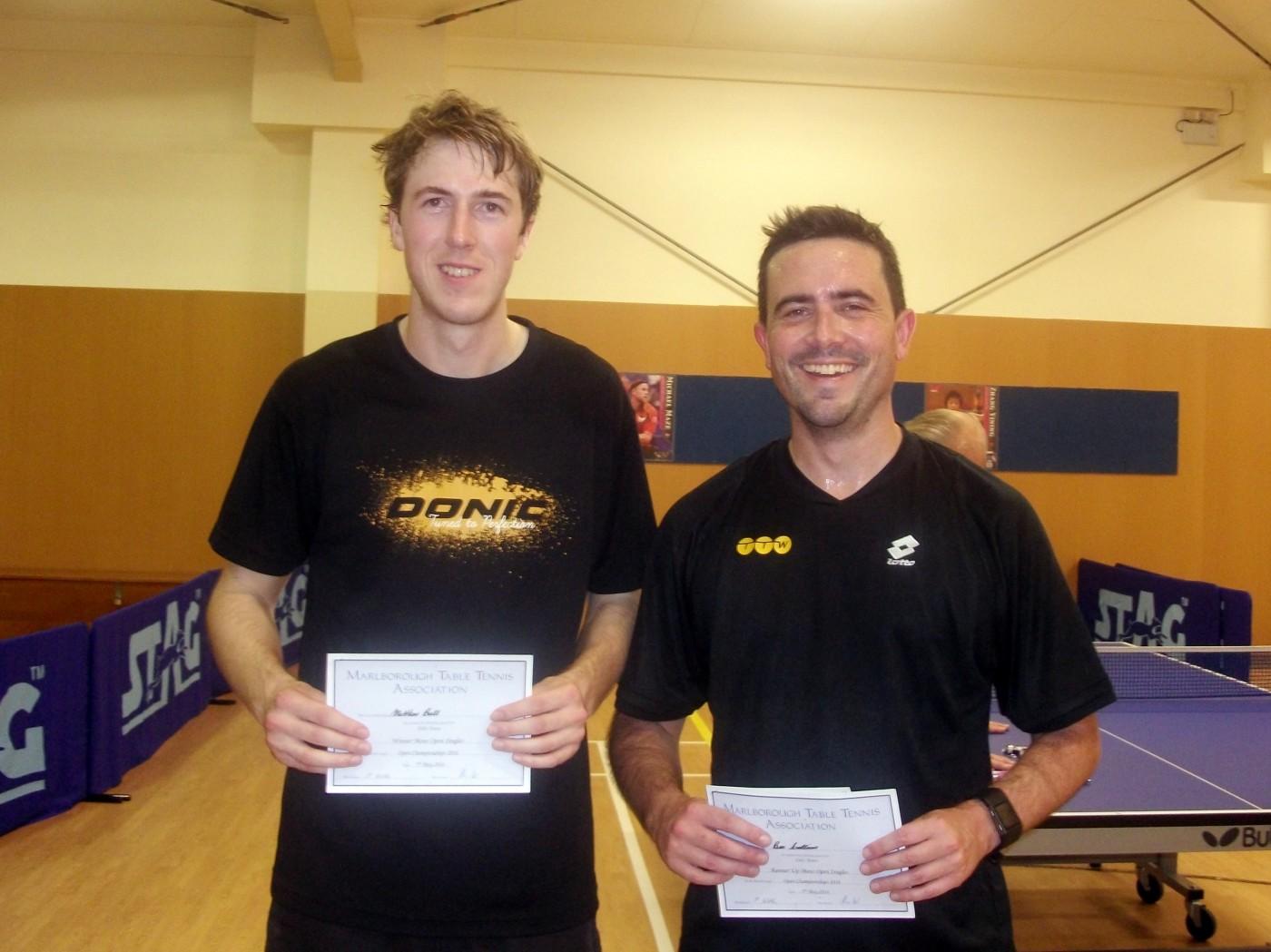 Matthew Ball (Men's Singles winner) and Ben Collins (Men's Singles runner up)