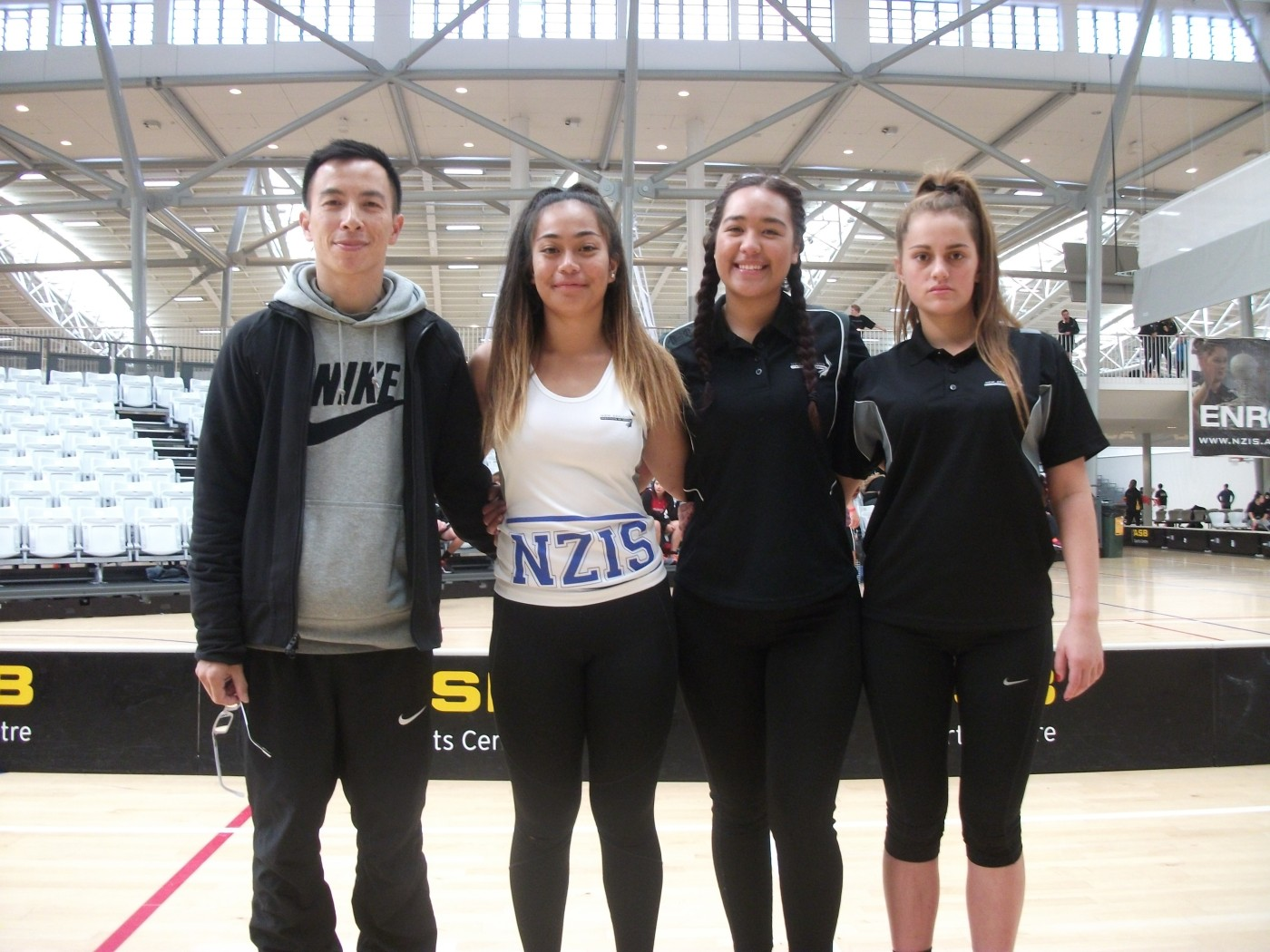 Robert Chung (Umpire) and Women Singles players Sieni Mose (Auckland), Alana Rahui (Wellington) and Mahina Mullany (Christchurch).