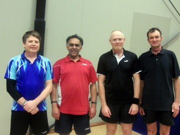 Nelson Open Over 40 Doubles winners Paul Solt and Depak Patel and runner up Paul Op den Buysch and Phil Osborne.