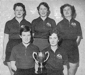 Victor Barna Cup, Hutt Valley Women's team (1956). L/R back: Fay Inglis, Val Muirhead (c), Pam Oben; front: Mary Garden, Joan Brown