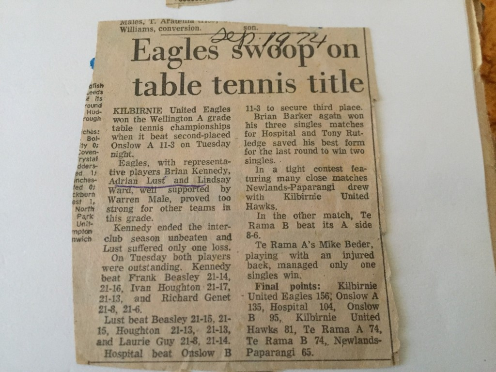Newspaper clipping from 1974 Wellington Table Tennis A Grade final results